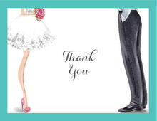 Chic Wedding Couple Thank You Cards
