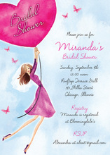 Butterflies and Pink Heart Balloons Invitations