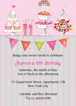 Candy Buffet Pink Birthday Party Invitations
