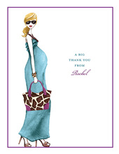 Fashionable Mom Blue Blonde Thank You Cards