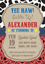 Saddle Up Cowboy Birthday Party Invitations