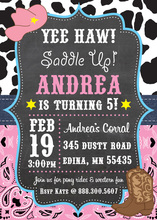 Chalkboard Yee Haw Cowgirl Birthday Party Invitations