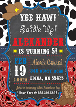 Chalkdboard Yee Haw Cowboy Birthday Invitations