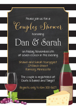 Striped Border Chalkboard Wine Cheese Invitations
