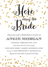Here comes the Bride Gold Confetti Bridal Invitations
