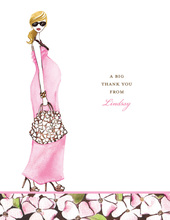 Fashionable Mom Pink Blonde Thank You Cards