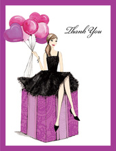 Fashionable Party Girl Thank You Cards