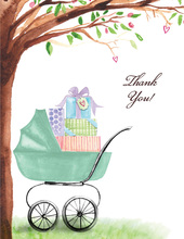 Green Beautiful Bassinet Thank You Cards