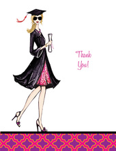 Gorgeous Grad Blonde Lady Thank You Cards