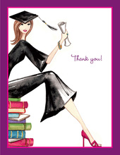 Grad on Books Thank You Cards