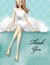 Expecting Dress Form Blue Thank You Cards