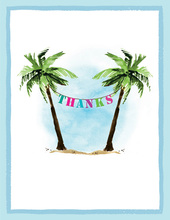 Palm Tree Party Banner Thank You Cards