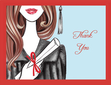 Glamorous Grad Brunette Lady Thank You Cards