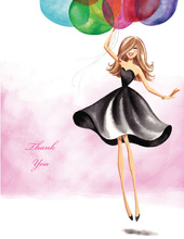 Floating Party Girl Thank You Cards