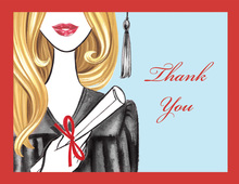 Glamorous Grad Blonde Lady Thank You Cards