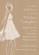 Kraft Silhouette Bride Bridal Shower Invitations