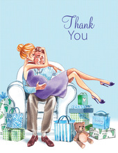 Kisses for Baby Blue Blonde Lady Thank You Cards