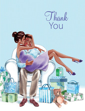Kisses for Baby Blue Multicultural Thank You Cards