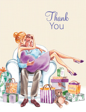Kisses for Baby Neutral Blonde Lady Thank You Cards