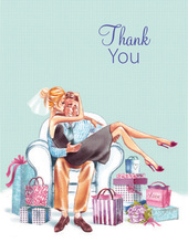 Kissing Couple Blonde Lady Thank You Cards