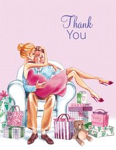 Kisses for Baby Pink Blonde Mom Thank You Cards