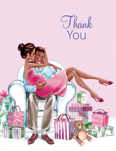 Kisses for Baby Pink Multicultural Mom Thank You Cards