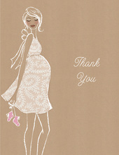 Kraft Baby Shower Pink Thank You Cards