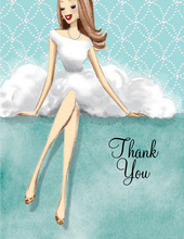Lovely Black Dress Brunette LadyThank You Cards