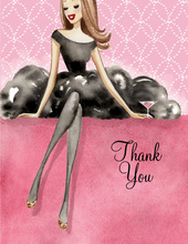 Lovely Black Dress Brunette Lady Thank You Cards