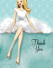 Lovely White Dress Blonde Lady Thank You Cards