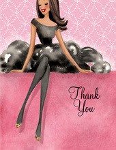 Lovely Black Dress Multicultural Thank You Cards