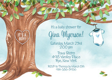 Onesie Tree Blue Invitations