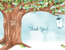 Onesie Tree Blue Baby Shower Thank You Cards
