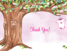Onsie Tree Pink Baby Shower Thank You Cards