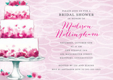 Pink Petal Bridal Cake Luncheon Invitations