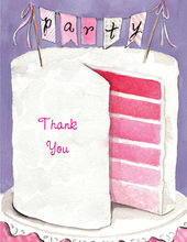 Multi Layer Pink Party Cake Thank You Cards