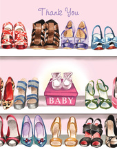 Stylish Shoe Closet Baby Girl Thank You Cards