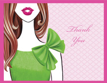 Stylish Surprise Brunette Lady Thank You Cards