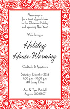 Tattoo Red Damask Invitations