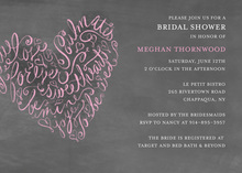Sophisticated Script Heart Chalkboard Wedding Invites