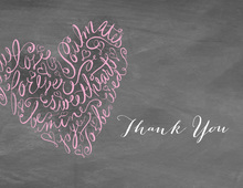 Script Heart Chalkboard Thank You Cards