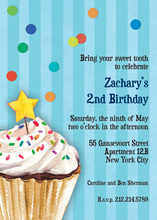 Sprinkles and Confetti Blue Birthday Invitations