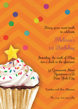 Sprinkles and Confetti Orange Birthday Invitations