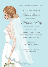 Vintage Veil Brunette Girl Bridal Shower Invitations