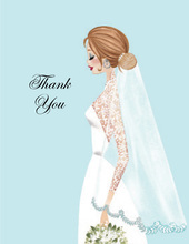 Vintage Veil Brunette Lady Thank You Cards