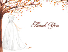 Wonderful Weddding Dress Fall Thank You Cards