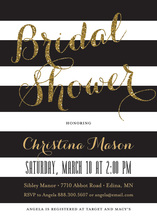 Black Stripes Gold Glitter Bridal Shower Script Invites