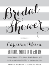 Grey Stripes Bridal Shower Script Invitations
