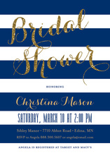 Navy Stripes Gold Glitter Here Comes the Bride Invites