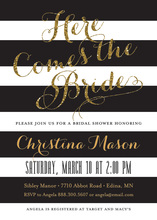 Black Stripes Gold Glitter Here Comes the Bride Invites